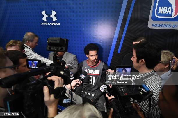 Jarrett Allen speaks to reporters during Day Two of the NBA Draft Combine at Quest MultiSport Complex on May 12 2017 in Chicago Illinois NOTE TO USER...