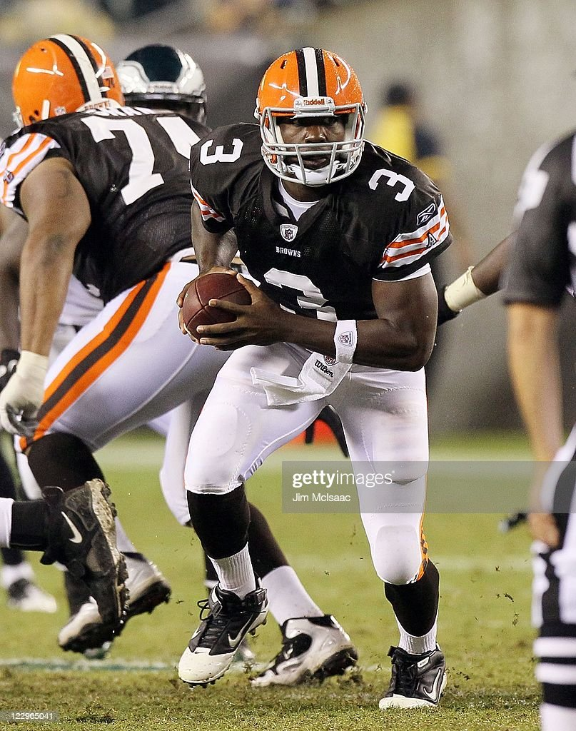 <a gi-track='captionPersonalityLinkClicked' href=/galleries/search?phrase=Jarrett+Brown&family=editorial&specificpeople=4056499 ng-click='$event.stopPropagation()'>Jarrett Brown</a> #3 of the Cleveland Browns in action against the during their pre season game on August 25, 2011 at Lincoln Financial Field in Philadelphia, Pennsylvania.