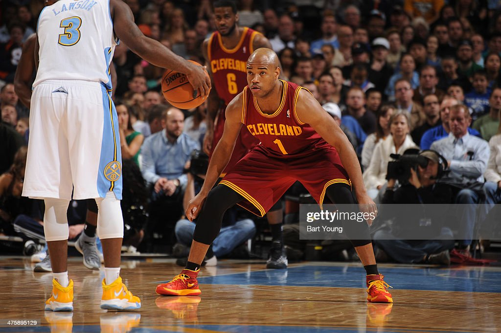 <a gi-track='captionPersonalityLinkClicked' href=/galleries/search?phrase=Jarrett+Jack&family=editorial&specificpeople=208109 ng-click='$event.stopPropagation()'>Jarrett Jack</a> #1 of the Cleveland Cavaliers guards against Ty Lawson #3 of the Denver Nuggets on January 17, 2014 at the Pepsi Center in Denver, Colorado.