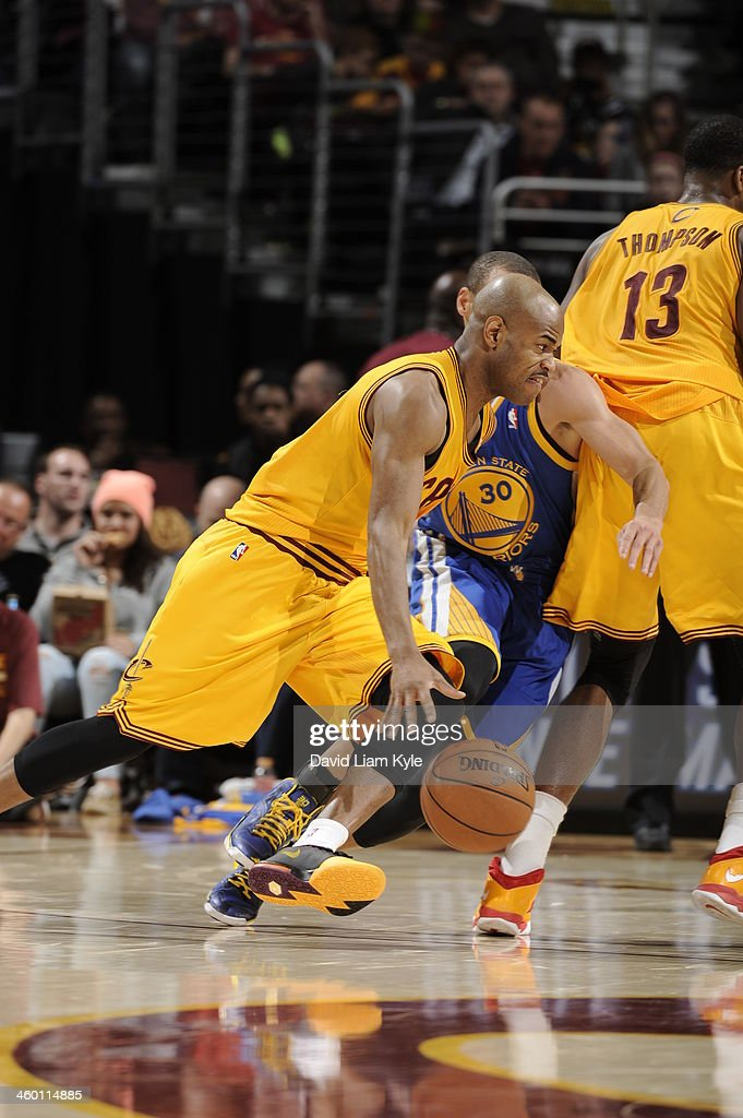 <a gi-track='captionPersonalityLinkClicked' href=/galleries/search?phrase=Jarrett+Jack&family=editorial&specificpeople=208109 ng-click='$event.stopPropagation()'>Jarrett Jack</a> #1 of the Cleveland Cavaliers handles the ball against the Golden State Warriors at The Quicken Loans Arena on December 29, 2013 in Cleveland, Ohio.