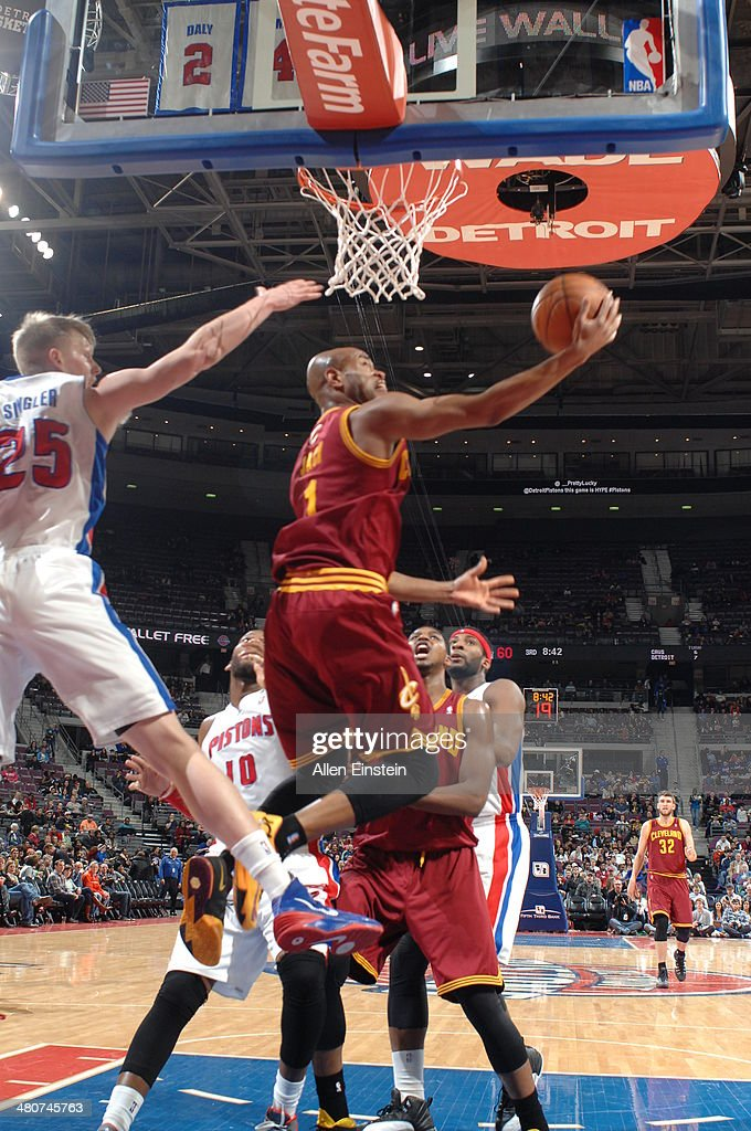 <a gi-track='captionPersonalityLinkClicked' href=/galleries/search?phrase=Jarrett+Jack&family=editorial&specificpeople=208109 ng-click='$event.stopPropagation()'>Jarrett Jack</a> #1 of the Cleveland Cavaliers shoots against the Detroit Pistons on March 26, 2014 at The Palace of Auburn Hills in Auburn Hills, Michigan.