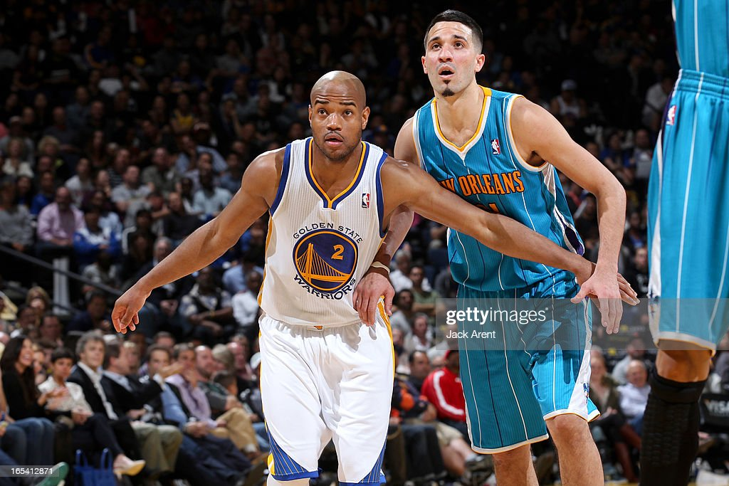 <a gi-track='captionPersonalityLinkClicked' href=/galleries/search?phrase=Jarrett+Jack&family=editorial&specificpeople=208109 ng-click='$event.stopPropagation()'>Jarrett Jack</a> #2 of the Golden State Warriors battles for rebound position against Greivis Vasquez #21 of the New Orleans Hornets on April 3, 2013 at Oracle Arena in Oakland, California.