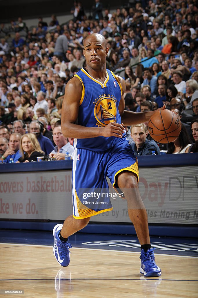 <a gi-track='captionPersonalityLinkClicked' href=/galleries/search?phrase=Jarrett+Jack&family=editorial&specificpeople=208109 ng-click='$event.stopPropagation()'>Jarrett Jack</a> #2 of the Golden State Warriors brings the ball up court against the Dallas Mavericks on November 19, 2012 at the American Airlines Center in Dallas, Texas.