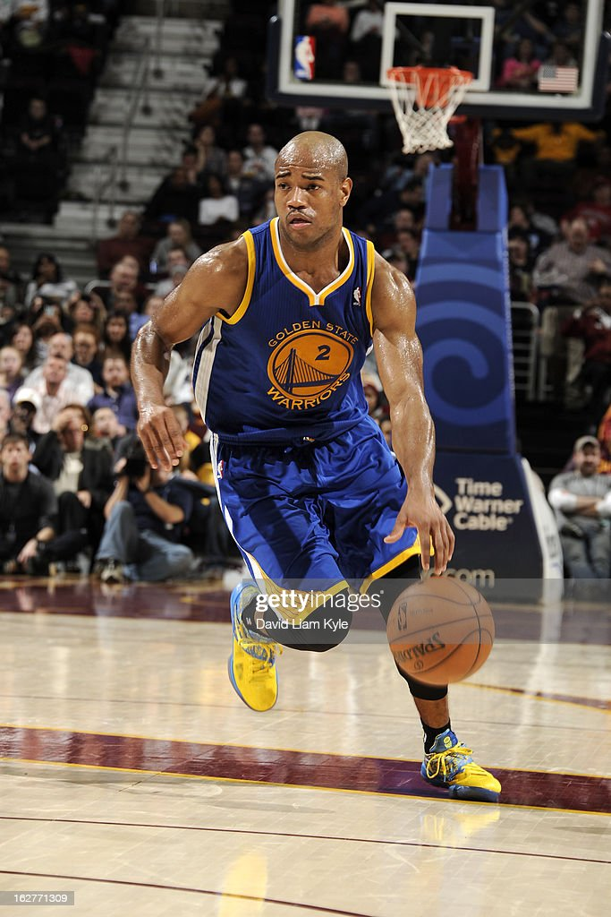 <a gi-track='captionPersonalityLinkClicked' href=/galleries/search?phrase=Jarrett+Jack&family=editorial&specificpeople=208109 ng-click='$event.stopPropagation()'>Jarrett Jack</a> #2 of the Golden State Warriors brings the ball up court against the Cleveland Cavaliers at The Quicken Loans Arena on January 29, 2013 in Cleveland, Ohio.
