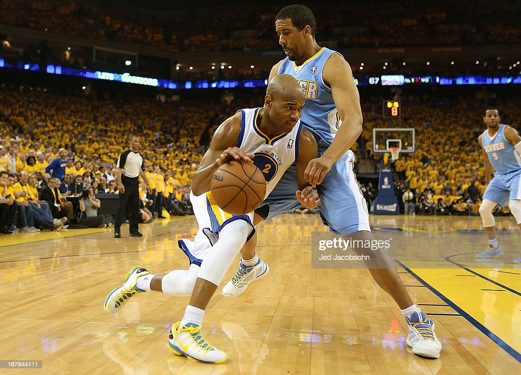 <a gi-track='captionPersonalityLinkClicked' href=/galleries/search?phrase=Jarrett+Jack&family=editorial&specificpeople=208109 ng-click='$event.stopPropagation()'>Jarrett Jack</a> #2 of the Golden State Warriors drives against <a gi-track='captionPersonalityLinkClicked' href=/galleries/search?phrase=Andre+Miller&family=editorial&specificpeople=201678 ng-click='$event.stopPropagation()'>Andre Miller</a> #24 of the Denver Nuggets during Game Six of the Western Conference Quarterfinals of the 2013 NBA Playoffs at ORACLE Arena on May 2, 2013 in Oakland, California.