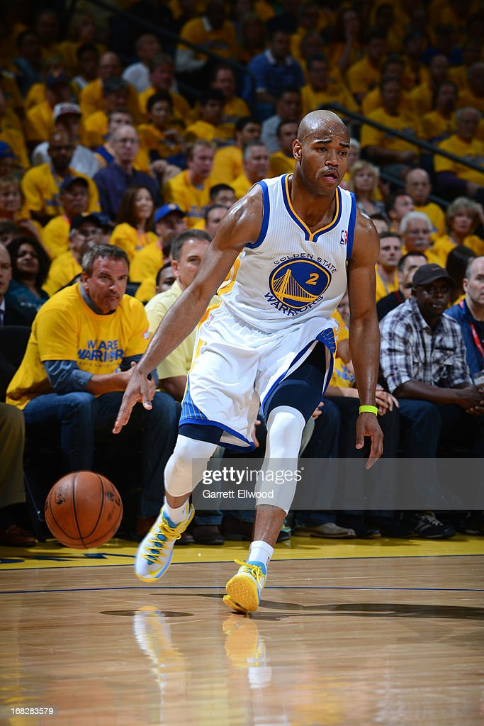 <a gi-track='captionPersonalityLinkClicked' href=/galleries/search?phrase=Jarrett+Jack&family=editorial&specificpeople=208109 ng-click='$event.stopPropagation()'>Jarrett Jack</a> #2 of the Golden State Warriors drives against the Denver Nuggets in Game Four of the Western Conference Quarterfinals during the 2013 NBA Playoffs on April 28, 2013 at the Oracle Arena in Oakland, California.