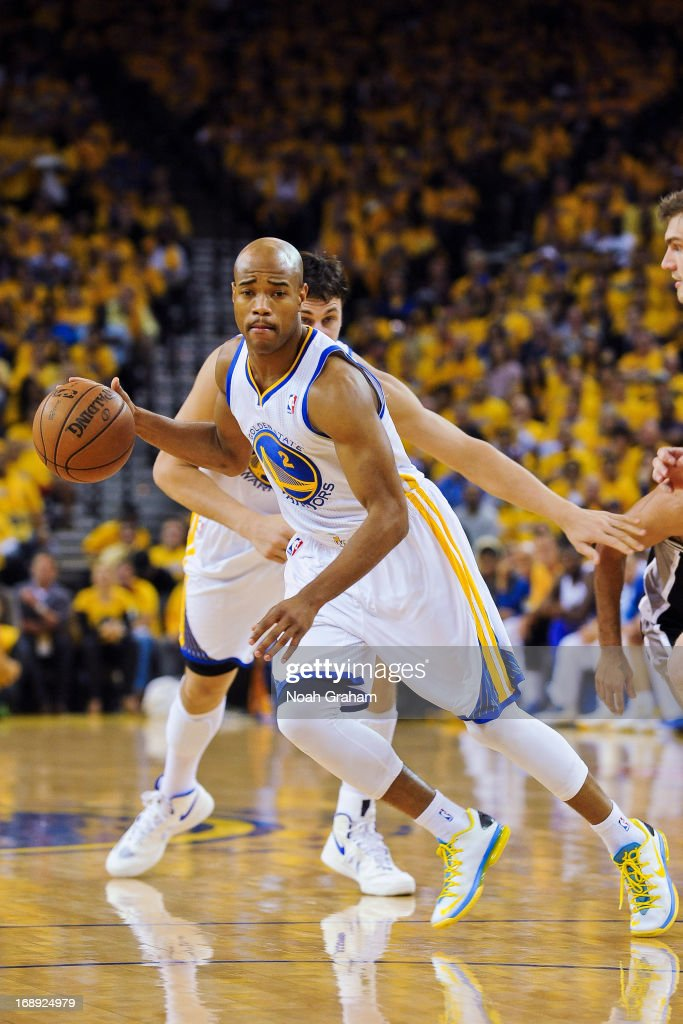 Jarrett Jack #2 of the Golden State Warriors drives against the San Antonio Spurs in Game Six of the Western Conference Semifinals during the 2013 NBA Playoffs on May 16, 2013 at Oracle Arena in Oakland, California.