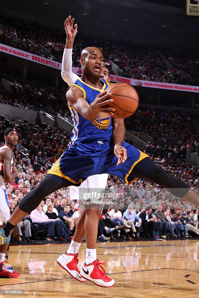 <a gi-track='captionPersonalityLinkClicked' href=/galleries/search?phrase=Jarrett+Jack&family=editorial&specificpeople=208109 ng-click='$event.stopPropagation()'>Jarrett Jack</a> #2 of the Golden State Warriors drives to the basket and passes the ball against the Portland Trail Blazers on April 17, 2013 at the Rose Garden Arena in Portland, Oregon.