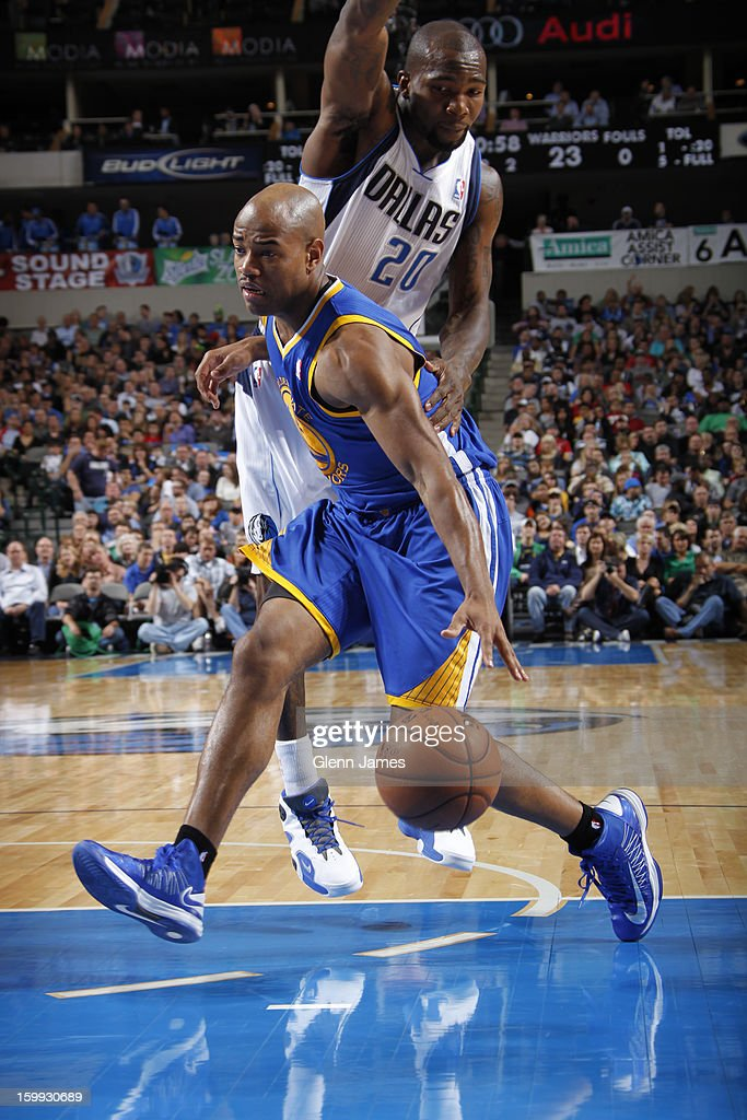 <a gi-track='captionPersonalityLinkClicked' href=/galleries/search?phrase=Jarrett+Jack&family=editorial&specificpeople=208109 ng-click='$event.stopPropagation()'>Jarrett Jack</a> #2 of the Golden State Warriors drives to the basket against the Dallas Mavericks on November 19, 2012 at the American Airlines Center in Dallas, Texas.
