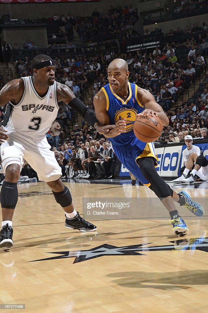 Jarrett Jack #2 of the Golden State Warriors drives to the basket against the San Antonio Spurs on March 20, 2013 at the AT&T Center in San Antonio, Texas.