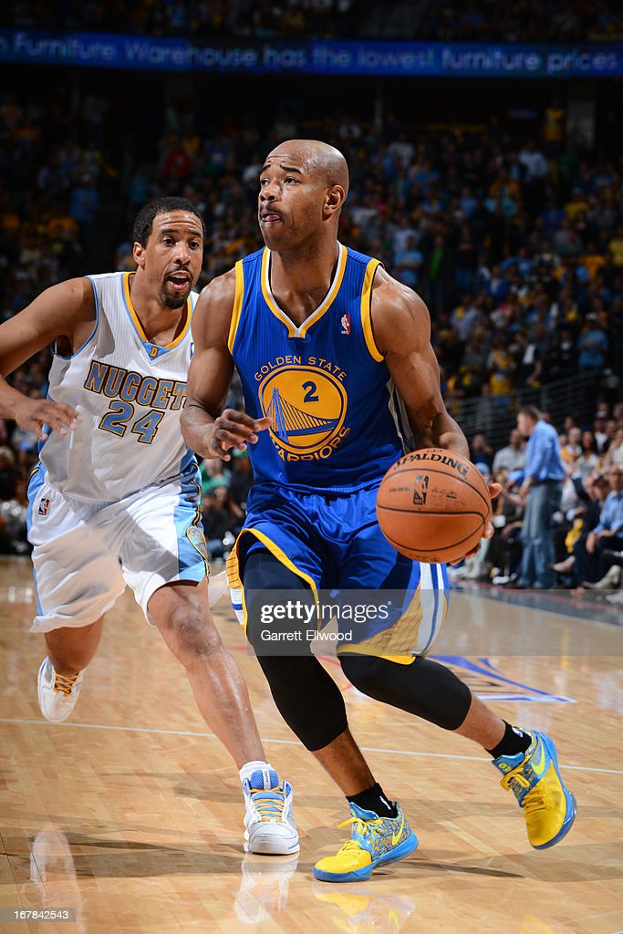 <a gi-track='captionPersonalityLinkClicked' href=/galleries/search?phrase=Jarrett+Jack&family=editorial&specificpeople=208109 ng-click='$event.stopPropagation()'>Jarrett Jack</a> #2 of the Golden State Warriors drives to the basket against the Denver Nuggets in Game Five of the Western Conference Quarterfinals during the 2013 NBA Playoffs on April 30, 2013 at the Pepsi Center in Denver, Colorado.