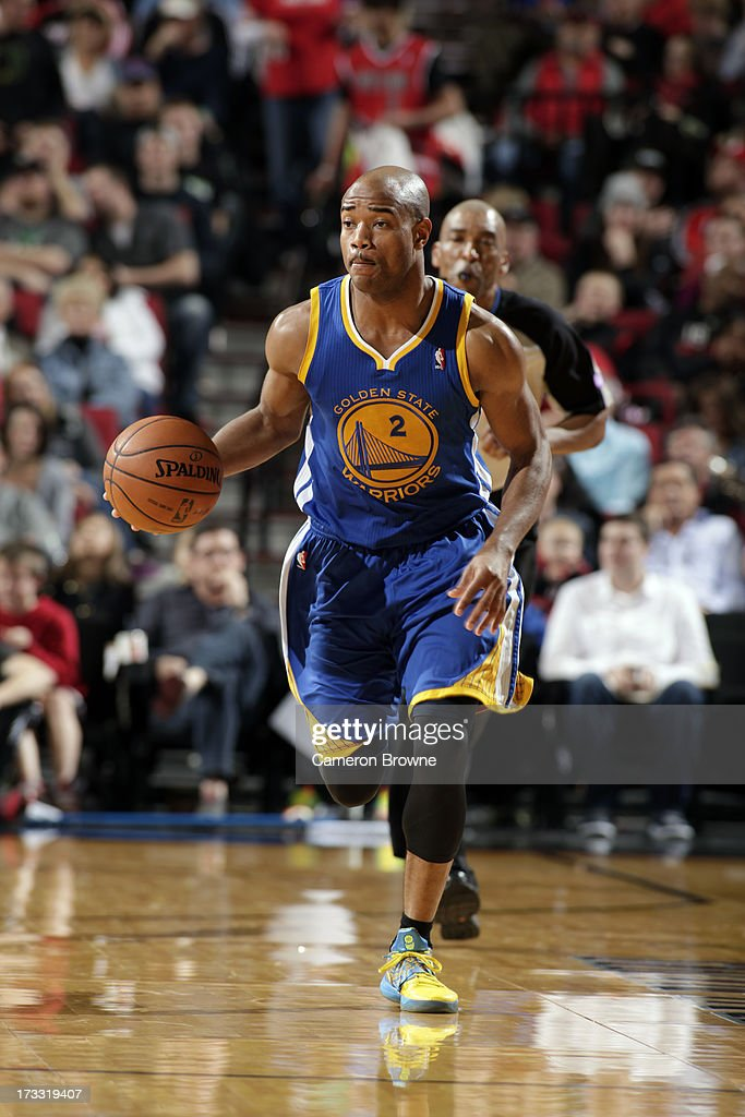 <a gi-track='captionPersonalityLinkClicked' href=/galleries/search?phrase=Jarrett+Jack&family=editorial&specificpeople=208109 ng-click='$event.stopPropagation()'>Jarrett Jack</a> #2 of the Golden State Warriors drives up-court during the game against the Portland Trail Blazers on April 17, 2013 at the Rose Garden Arena in Portland, Oregon.