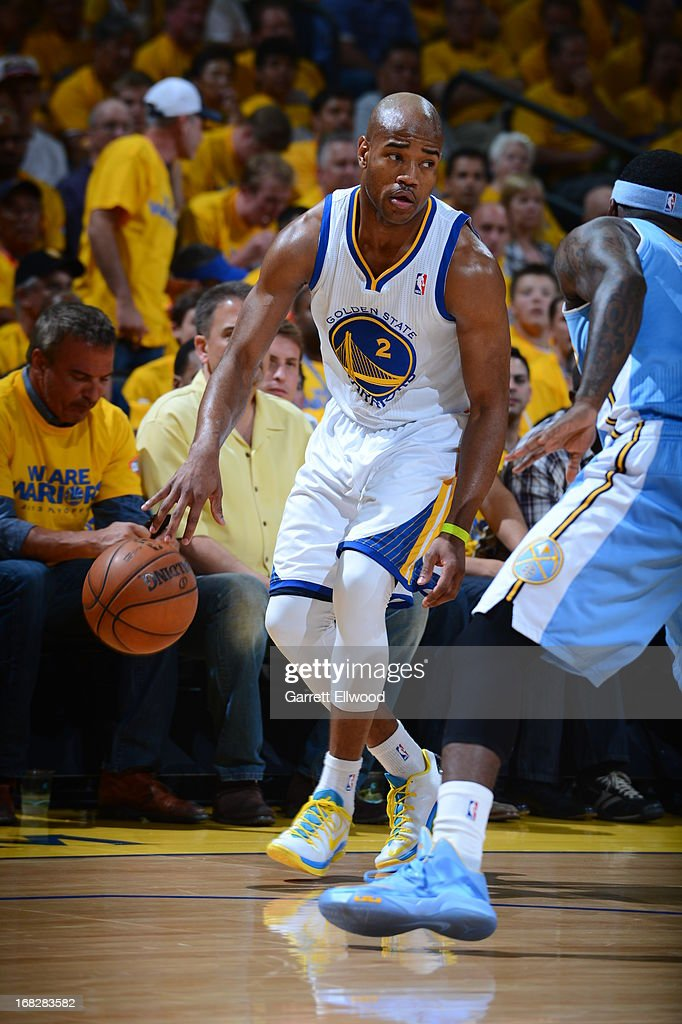 <a gi-track='captionPersonalityLinkClicked' href=/galleries/search?phrase=Jarrett+Jack&family=editorial&specificpeople=208109 ng-click='$event.stopPropagation()'>Jarrett Jack</a> #2 of the Golden State Warriors handles the ball against the Denver Nuggets in Game Four of the Western Conference Quarterfinals during the 2013 NBA Playoffs on April 28, 2013 at the Oracle Arena in Oakland, California.