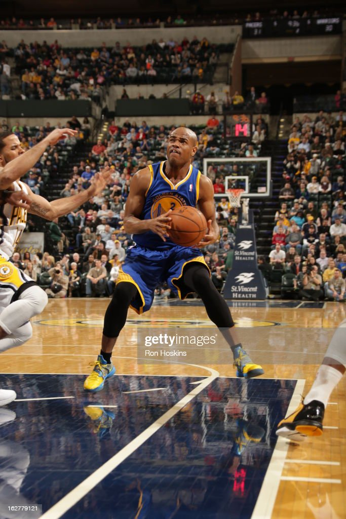 Jarrett Jack #2 of the Golden State Warriors looks to go up for the shot against the Indiana Pacers on February 26, 2013 at Bankers Life Fieldhouse in Indianapolis, Indiana.
