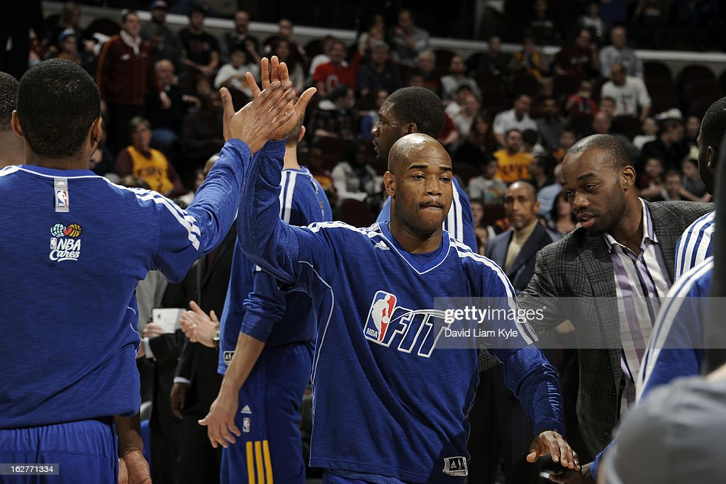 Jarrett Jack #2 of the Golden State Warriors runs out before the game against the Cleveland Cavaliers at The Quicken Loans Arena on January 29, 2013 in Cleveland, Ohio.