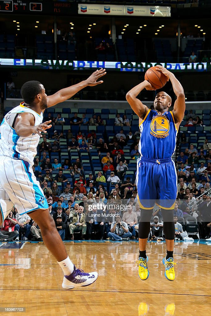 Jarrett Jack #2 of the Golden State Warriors shoots a three-pointer against the New Orleans Hornets on March 18, 2013 at the New Orleans Arena in New Orleans, Louisiana.