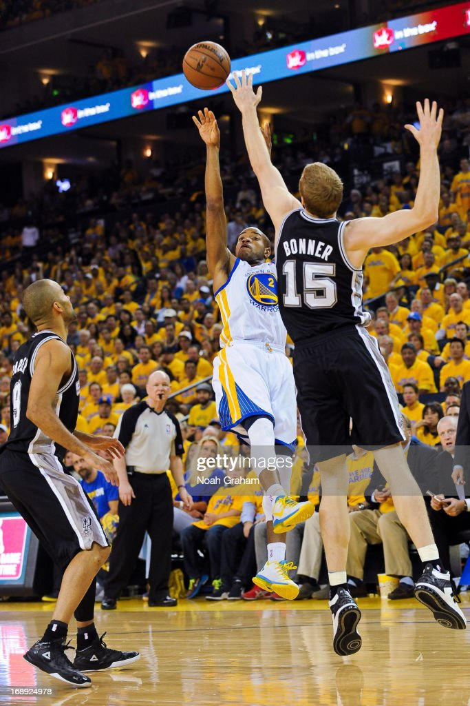 Jarrett Jack #2 of the Golden State Warriors shoots against Matt Bonner #15 of the San Antonio Spurs in Game Six of the Western Conference Semifinals during the 2013 NBA Playoffs on May 16, 2013 at Oracle Arena in Oakland, California.
