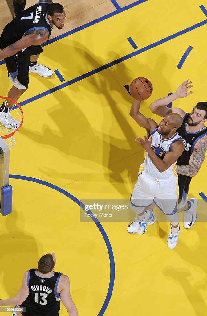 <a gi-track='captionPersonalityLinkClicked' href=/galleries/search?phrase=Jarrett+Jack&family=editorial&specificpeople=208109 ng-click='$event.stopPropagation()'>Jarrett Jack</a> #2 of the Golden State Warriors shoots against the Minnesota Timberwolves on April 9, 2013 at Oracle Arena in Oakland, California.