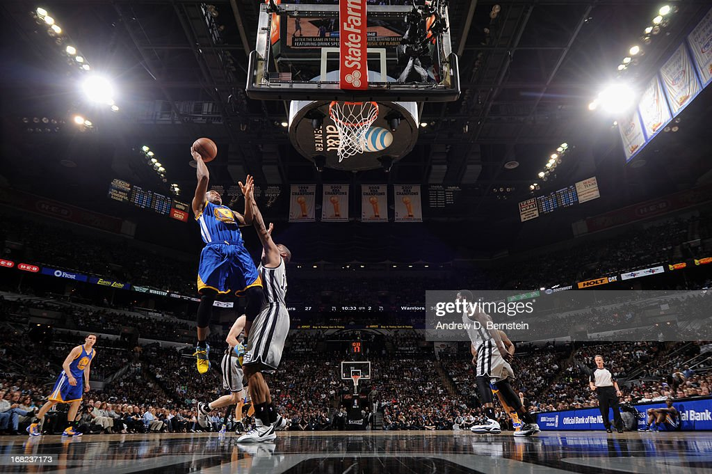 Jarrett Jack #2 of the Golden State Warriors shoots against the San Antonio Spurs in Game One of the Western Conference Semifinals during the 2013 NBA Playoffs on May 6, 2013 at the AT&T Center in San Antonio, Texas.