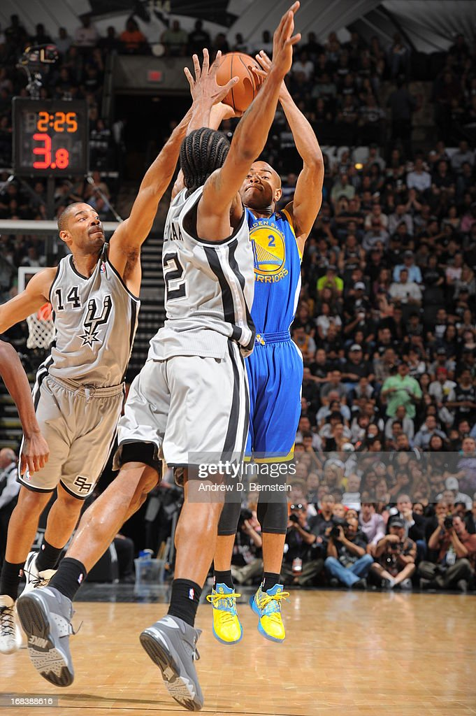 <a gi-track='captionPersonalityLinkClicked' href=/galleries/search?phrase=Jarrett+Jack&family=editorial&specificpeople=208109 ng-click='$event.stopPropagation()'>Jarrett Jack</a> #2 of the Golden State Warriors shoots against the San Antonio Spurs in Game Two of the Western Conference Semifinals during the 2013 NBA Playoffs on May 8, 2013 at the AT&T Center in San Antonio, Texas.