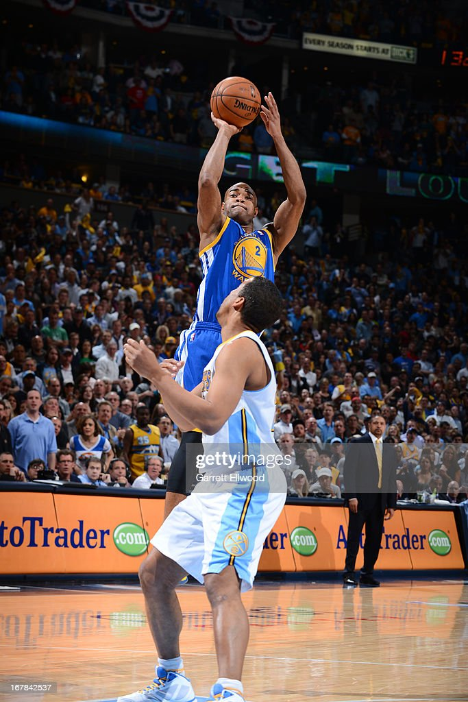 <a gi-track='captionPersonalityLinkClicked' href=/galleries/search?phrase=Jarrett+Jack&family=editorial&specificpeople=208109 ng-click='$event.stopPropagation()'>Jarrett Jack</a> #2 of the Golden State Warriors shoots the ball against the Denver Nuggets in Game Five of the Western Conference Quarterfinals during the 2013 NBA Playoffs on April 30, 2013 at the Pepsi Center in Denver, Colorado.