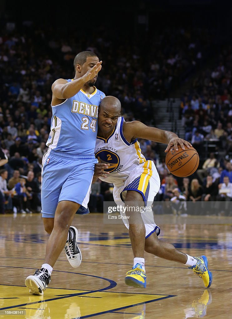 <a gi-track='captionPersonalityLinkClicked' href=/galleries/search?phrase=Jarrett+Jack&family=editorial&specificpeople=208109 ng-click='$event.stopPropagation()'>Jarrett Jack</a> #2 of the Golden State Warriors tries to dribble past <a gi-track='captionPersonalityLinkClicked' href=/galleries/search?phrase=Andre+Miller&family=editorial&specificpeople=201678 ng-click='$event.stopPropagation()'>Andre Miller</a> #24 of the Denver Nuggets at Oracle Arena on November 29, 2012 in Oakland, California.