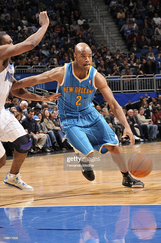 <a gi-track='captionPersonalityLinkClicked' href=/galleries/search?phrase=Jarrett+Jack&family=editorial&specificpeople=208109 ng-click='$event.stopPropagation()'>Jarrett Jack</a> #2 of the New Orleans Hornets drives to the basket against Gilbert Arenas #1 of the Orlando Magic during the game on February 11, 2011 at the Amway Center in Orlando, Florida.