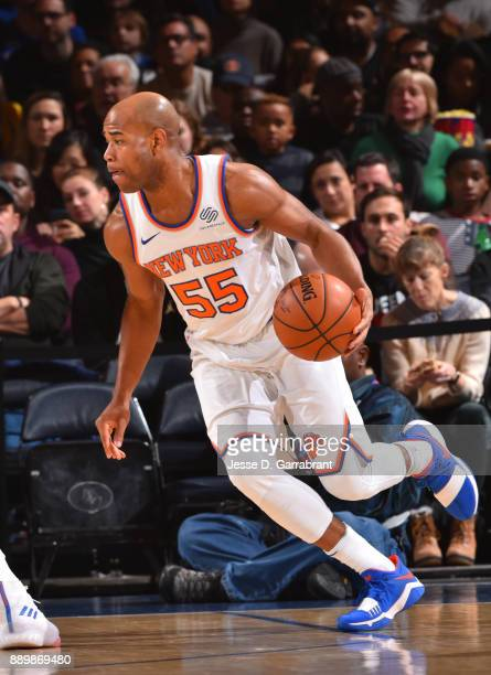 Jarrett Jack of the New York Knicks controls the ball against the Atlanta Hawks at Madison Square Garden on December 10 2017 in New York New York...