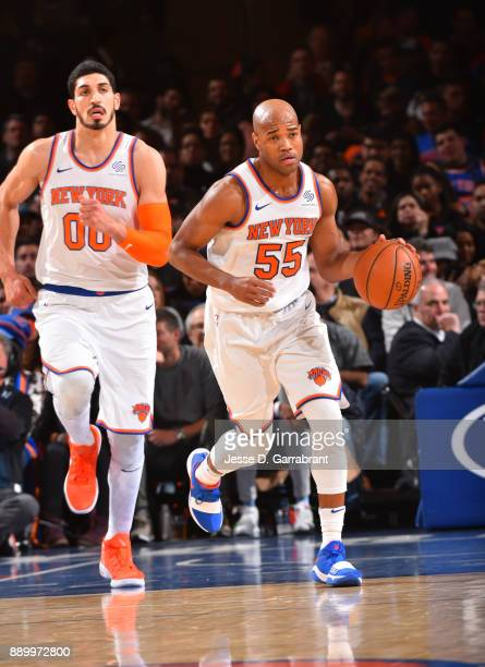 Jarrett Jack of the New York Knicks dribbles up court against the Atlanta Hawks at Madison Square Garden on December 10 2017 in New York New York...