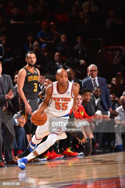 Jarrett Jack of the New York Knicks drives to the basket against the Atlanta Hawks at Madison Square Garden on December 10 2017 in New York New York...