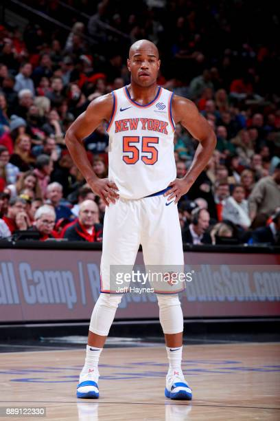 Jarrett Jack of the New York Knicks looks on during the game against the Chicago Bulls on December 9 2017 at the United Center in Chicago Illinois...