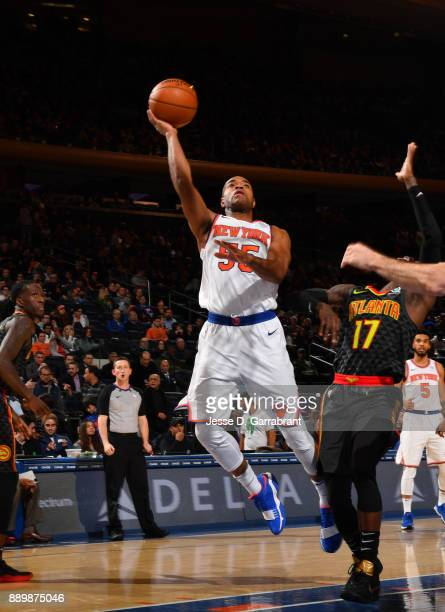 Jarrett Jack of the New York Knicks puts up the shot against the Atlanta Hawks at Madison Square Garden on December 10 2017 in New York New York NOTE...