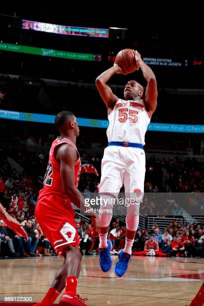 Jarrett Jack of the New York Knicks shoots the ball against the Chicago Bulls on December 9 2017 at the United Center in Chicago Illinois NOTE TO...
