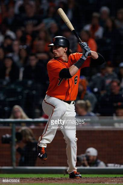 Jarrett Parker of the San Francisco Giants at bat against the San Diego Padres during the first inning at ATT Park on September 29 2017 in San...