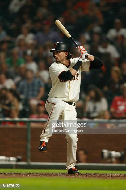 Jarrett Parker of the San Francisco Giants at bat in the sixth inning against the St Louis Cardinals at ATT Park on August 31 2017 in San Francisco...