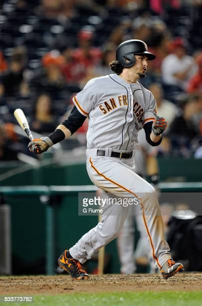 Jarrett Parker of the San Francisco Giants bats against the Washington Nationals at Nationals Park on August 12 2017 in Washington DC