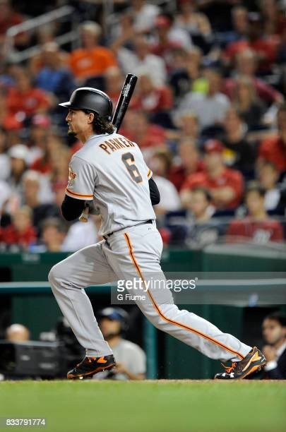 Jarrett Parker of the San Francisco Giants bats against the Washington Nationals during Game 2 of a doubleheader at Nationals Park on August 13 2017...