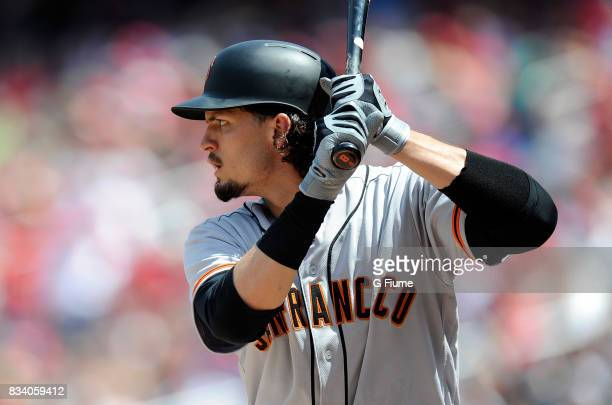 Jarrett Parker of the San Francisco Giants bats against the Washington Nationals during Game 1 of a doubleheader at Nationals Park on August 13 2017...