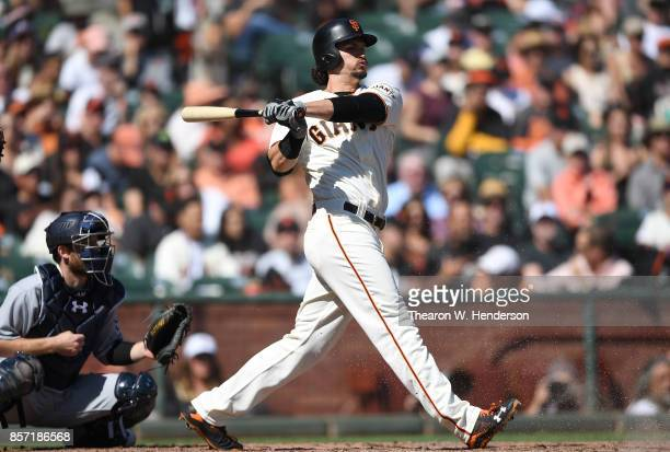 Jarrett Parker of the San Francisco Giants bats against the San Diego Padres in the bottom of the fourth inning at ATT Park on October 1 2017 in San...