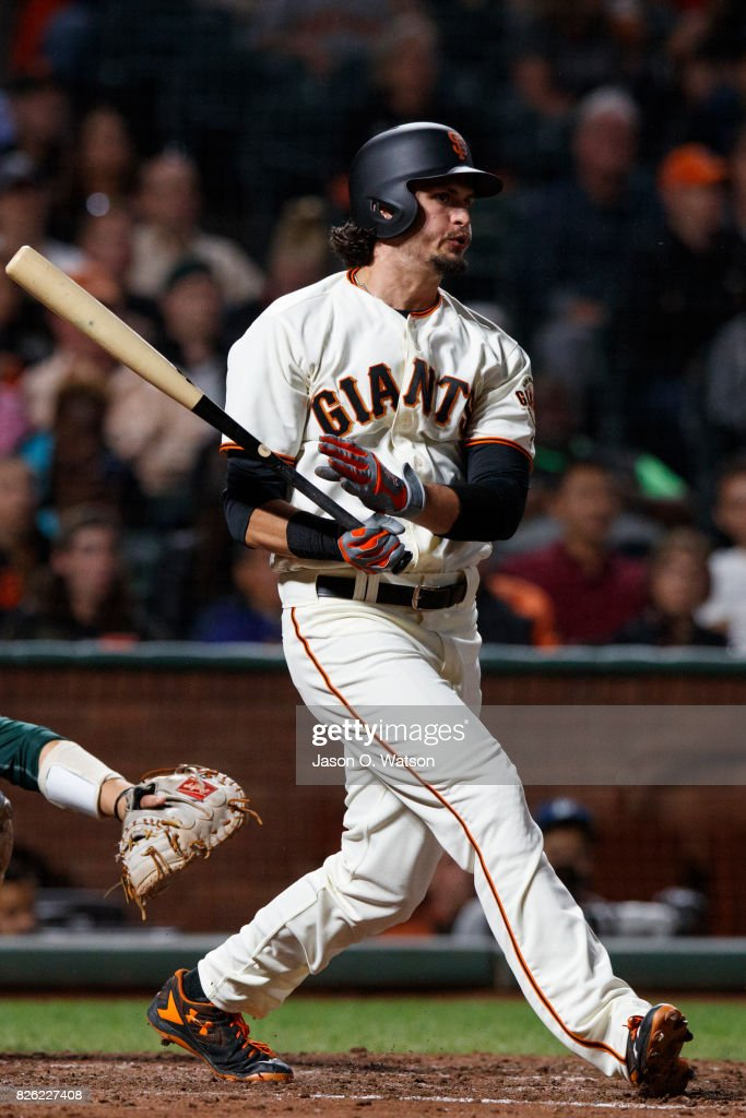 Jarrett Parker #6 of the San Francisco Giants hits an RBI double against the Oakland Athletics during the fifth inning at AT&T Park on August 3, 2017 in San Francisco, California. The San Francisco Giants defeated the Oakland Athletics 11-2.
