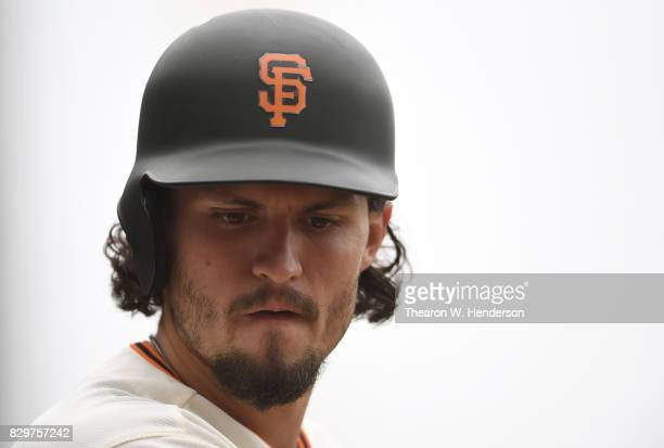 Jarrett Parker of the San Francisco Giants looks on from the ondeck circle against the Chicago Cubs in the bottom of the first inning at ATT Park on...