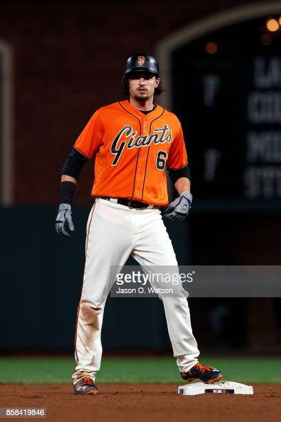 Jarrett Parker of the San Francisco Giants stands on second base against the San Diego Padres during the seventh inning at ATT Park on September 29...