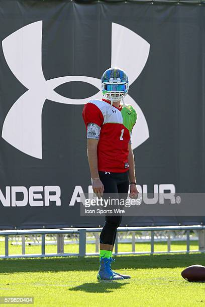 Jarrett Stidham of Stephenville TX during the 2014 Under Armour AllAmerican practice at Disney's ESPN Wide World of Sports Complex in Kissimmee...