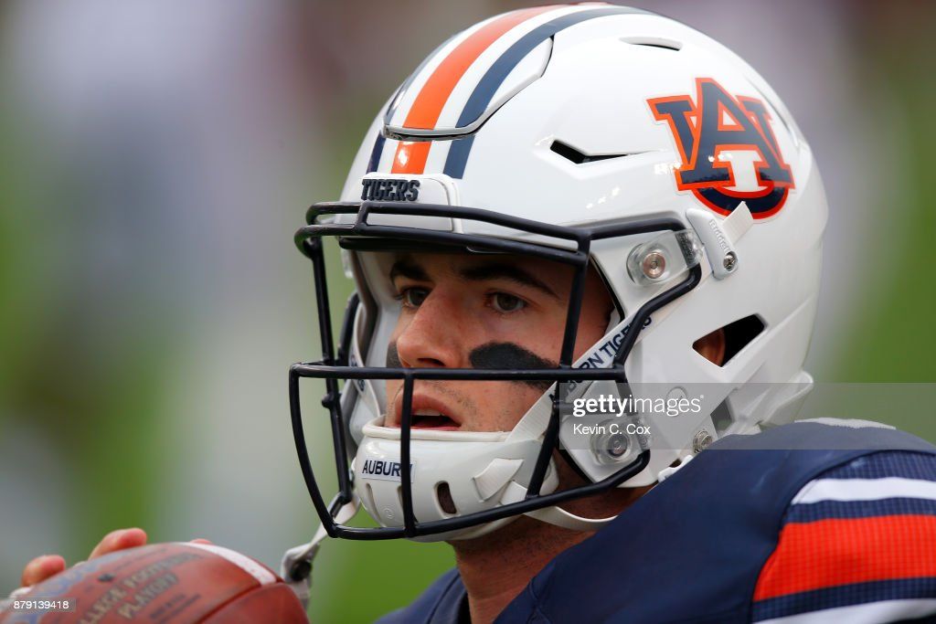 Jarrett Stidham #8 of the Auburn Tigers warms up prior to the game against the Alabama Crimson Tide at Jordan Hare Stadium on November 25, 2017 in Auburn, Alabama.