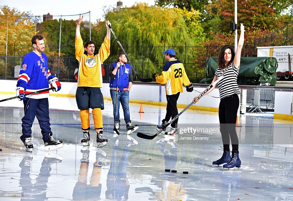 Jarrett Stoll, Andrew Schulz, Chris Distefano, Mark Gessner and Lindsey Broad attend the New York Rangers and the Cast of IFCÕs Hockey Comedy Benders Face Off event at Lasker Rink on October 29, 2015 in New York City.