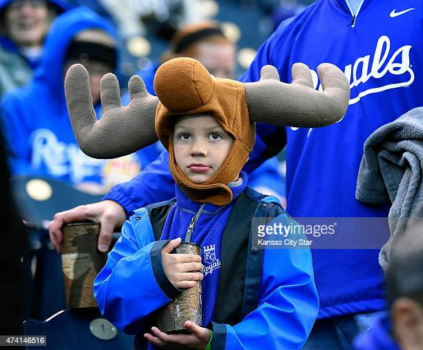 Jarrick Pettlon from Maryville Mo keeps his head warm on a chilly night with a moose hat in honor of the Kansas City Royals' Mike Moustakas as the...