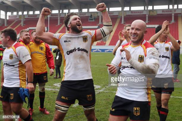 Jarrid Els and team mates of Germany celebrate after the European Shield Rugby match between Germany and Romania at SpardaBankHessenStadion on...