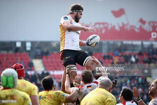 Jarrid Els of Germany catches the ball during the European Shield Rugby match between Germany and Romania at SpardaBankHessenStadion on February 11...