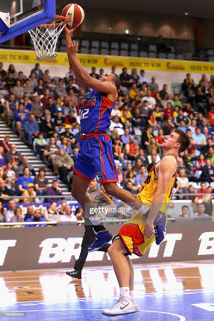 Jarrid Frye of the 36ers shoots during the round three NBL match between the Melbourne Tigers and the Adelaide 36ers at the State Netball Hockey Centre in October 27, 2013 in Melbourne, Australia.