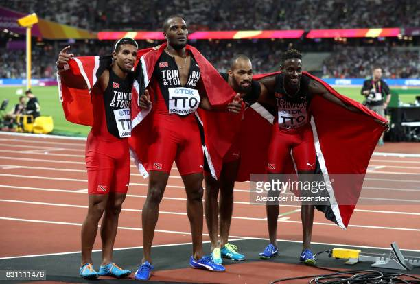 Jarrin Solomon Jereem Richards Machel Cedenio and Lalonde Gordon of Trinidad and Tobago celebrate after winning gold in the Men's 4x400 Metres Relay...